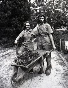 Women's Land Army girls in Gosford, Australia, 1942. Thousands of women joined the Women's Land Army on the home front during World War II. They kept farms and food production going and helped to feed both the civilian population and service personnel.