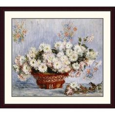 Global Gallery 'Chrysanthemums' by Claude Monet Framed Painting Print Size: