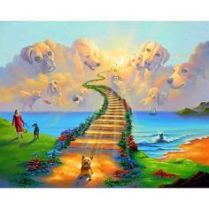 Rainbow Bridge All Dogs Go to Heaven Boxer Bulldog Golden Retriever Art Print Pet and Poem Sympathy Memorial Stairway to Heaven Gato Angel, Rainbow Bridge Poem, Dog Heaven, Heaven Movie, Stairway To Heaven, Tier Fotos, Pet Loss, 5d Diamond Painting, Losing A Dog