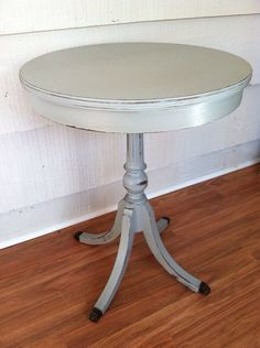 Vintage Black Round Side Table Painted Gray By LynorByJessica, $99.00