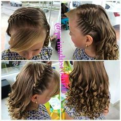 No photo description available. Princess Hairstyles, Little Girl Hairstyles, Cute Hairstyles, Braided Hairstyles, Hairstyles For School, Girl Hair Dos, Baby Girl Hair, Curly Hair Styles, Natural Hair Styles