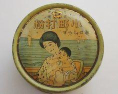 Rare, 100+ years old Japanese talcum powder tin box