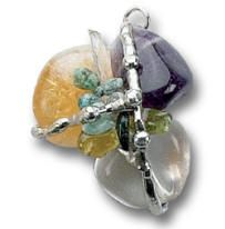 Prosperity Amulet (Abundance) EMERALD and CITRINE complement each other by attracting prosperity and abundance in all things. PERIDOT opens up new doors of opportunity and AMETHYST awakens our psychic ability and intuition, allowing the prosperity to flow in. CLEAR QUARTZ deflects negativity and enhances positive changes in the wearer. positive changes in the wearer. Planetary Influence: Saturn, Venus, Sun and Jupiter Chakras: 2nd, 4th, 6th and 7th