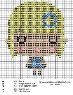 Cute Girl Hama Perler Bead Pattern or Cross Stitch Chart