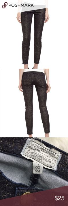 """Current/Elliott Stiletto Gold Foil Jeans Metallic Current/Elliott Stiletto Gold Foil Jeans in Metallic. Used but in good condition. Size 28. Inseam 27"""". Current/Elliott Pants Skinny"""