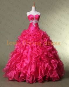 Hot pink Quinceanera Dresses Ball gown Long Prom Evening Formal Dress Stock size