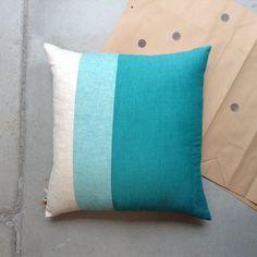 Decorative throw pillow in sea foam and aqua linen