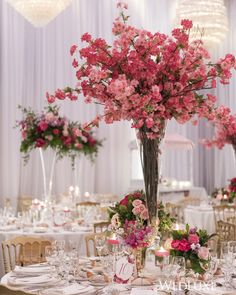Wedding table centerpieces - A Pink FloralFilled Wedding Inspired By A Lush Venetian Garden – Wedding table centerpieces Wedding Table Centerpieces, Wedding Flower Arrangements, Floral Centerpieces, Floral Arrangements, Centerpiece Ideas, Trumpet Vase Centerpiece, Pink Wedding Decorations, Wedding Tables, Centrepieces
