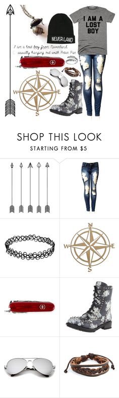 """Lost Boy"" by allendrea ❤ liked on Polyvore featuring Disney, Victorinox Swiss Army, Ash, West Coast Jewelry and Primrose"