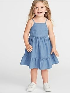 Old Navy Toddlers' Tiered Chambray Fit & Flare Dress Light Tone Chambray Size Toddler Girl Dresses, Girls Dresses, Flower Girl Dresses, Toddler Girls, Kids Summer Dresses, Flare Skirt, Fit Flare Dress, Moda Kids, White Bridal