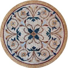 The beautiful Aeliana botanical medallion evokes the elegance of ancient Persian artwork. Add art and dimension to your indoor or outdoor spaces by using this natural stone mosaic to top a table, counter top or tile floor., Get it now for $296.