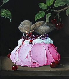 olieverf op paneel Pavlova, Various Artists, Surreal Art, Winter Food, Christmas Ornaments, Holiday Decor, Painting, Oil, Candy