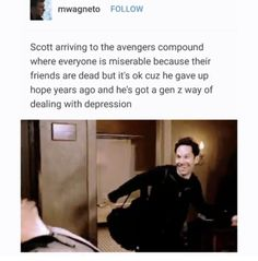 He's technically a millennial tho!:: In the aftermath of Thanos wiping out half of all life in the universe, the remaining Avengers must do what's necessary to undo the Mad Titan's deed…. The Avengers, Avengers Memes, Marvel Memes, Marvel Dc Comics, Avengers Imagines, Scott Lang, Supernatural, Dc Memes, Marvel Funny