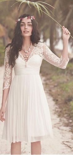 Informal Short Wedding Dress with 3/4 Lace Sleeves