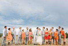 wedding party bridesmaids groomsmen western boots blue sky ombre orange red coral love joy   Jackie + Andy   Santa Fe Wedding   Jenn Emerling Weddings