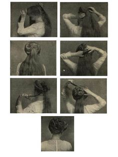 vintage everyday: Classic Coiffure from Girls – How-to Make a Psyche Knot
