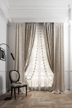 Layered rod pocket treatment under cornice шторы curtains, luxury curtains Luxury Curtains, Home Curtains, Curtains With Blinds, Beige Curtains, Layered Curtains, Double Rod Curtains, Double Curtain Rod Brackets, Curtain Styles, Curtain Designs