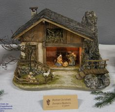 Click to Close Christmas Grotto Ideas, Christmas Crib Ideas, Christmas Village Sets, Christmas Table Decorations, Christmas Nativity, All Things Christmas, Christmas Crafts, Christmas Christmas, Fairy Garden Houses