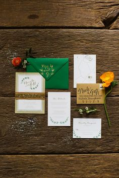 green and gold wedding invitations, photo by Pill Photography http://ruffledblog.com/city-glam-country-inspiration-with-freixenet #weddinginvitations #stationery