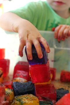 Building ice cube towers with rainbow ice