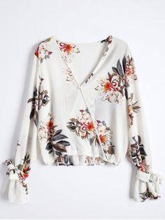 $20.49 Floral Flare Sleeve Surplice Blouse - COLORMIX XL