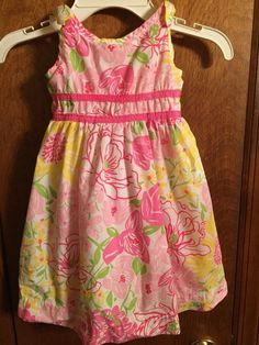 Lilly Pulitzer Girls Size 2T Sleeveless Pink & Yellow Floral Dress Easter Spring #LillyPulitzer #Everyday