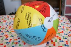 Beach Ball Questions Game-I made this when I worked as a Recreational Therapist at a Psych Hospital and used this with my patients to get them to talk more and interact with the group. Le Blanc - May 04 2019 at School Age Activities, Activities For Kids, Exercise Activities, Sorority Bonding Activities, Team Bonding Games, Cheer Games, Team Bonding Activities, Primary Activities, Christmas Activities