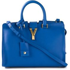 SAINT LAURENT small 'Monogram' tote ($2,650) ❤ liked on Polyvore featuring bags, handbags, tote bags, monogrammed purses, square tote, yves saint-laurent tote, blue handbags and blue tote