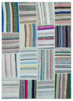 Striped Over Dyed Kilim Patchwork Unique Rug 5'3'' x 7'3'' ft 160 x 222 cm