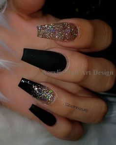 22 Acrylic Nails To Try ASAP - Society19 Cute Acrylic Nail Designs, Black Nail Designs, Camo Nail Designs, Acrylic Nail Designs Coffin, Black Acrylic Nails, Best Acrylic Nails, Acrylic Art, Black Coffin Nails, Black Nails With Gold