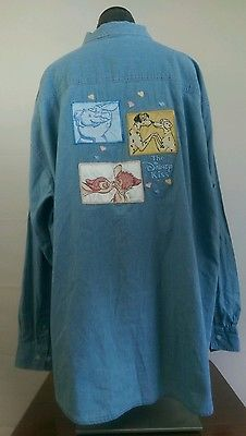 Vintage Disney Embroidered 101 Dalmations Dumbo and Bambi Button-down Denim XL