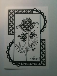 .handmade card ... black and white ... luv how the half circles swirl and pull the parts together ...
