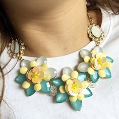 """NWT NY&Co Yellow & Teal Floral Necklace This is such a beautiful floral necklace from NY&Co! New with tags, never worn. Has an extender chain so it can be 15-18"""" long. Questions? Please ask! Sorry, no trades. Bundle for a discount! New York & Company Jewelry Necklaces"""