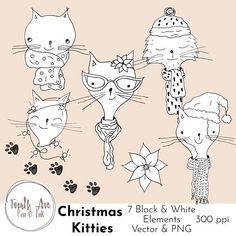 Christmas Cats Clipart Christmas Kitties Clipart Winter