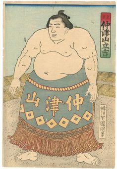 国明「相撲絵 東京 仲津山立吉」。古書の街・東京神田神保町にて、浮世絵から新版画、創作版画、現代版画までの版画作品の販売中心に、肉筆画(油彩・水彩)、書、彫刻、陶芸等の美術品及び美術書を幅広く取り扱っております。美術品・古書の買取も随時承ります。