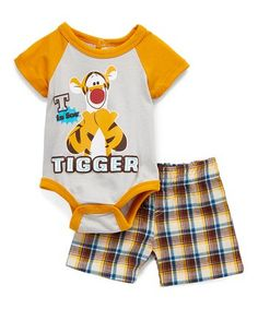 Tigger Gray & Mustard Raglan Bodysuit & Plaid Shorts - Infant