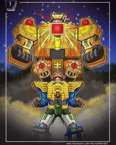 New illustration ✌ Galaxy Megazord! Power Rangers Fan Art, Power Rangers Comic, Power Rangers Zeo, Power Rangers Megazord, Pawer Rangers, Mighty Morphin Power Rangers, Gi Joe, Robot Art, Robots