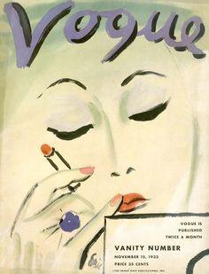 "Vogue USA November 1933 fashion illustration by Carl ""Eric"" Erickson"