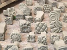 Pottery Stamps Made From Clay bisque stamps, make your own