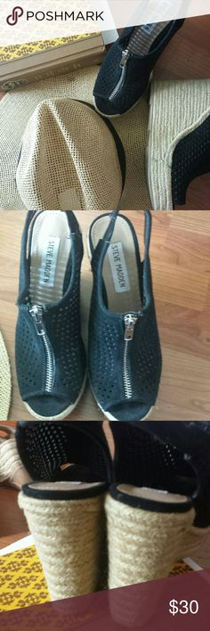 Steve Madden heeld espadrilles Great shape, there is a stain on one of them look at last picture.  True to size Steve Madden Shoes Espadrilles