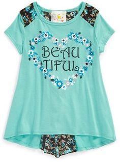 Jenna & Jessie 'Beautiful' Envelope Back Tee (Toddler Girls, Little Girls & Big Girls) on shopstyle.com