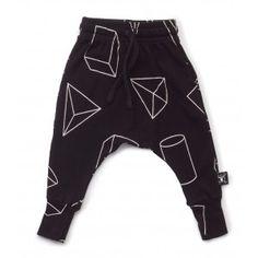 Nununu Geometric Baggy Pants - Black  - available at www.halfpintshop.com