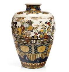 A large Satsuma vase By Unshin, late 19th century Painted in polychrome enamels and gilt over a clear crackled glaze and decorated with seasonal flowers and a trellis viewed over a dilapidated woven fence, a formal brocade band around the foot and the shoulder with brocade floral patterns, signed Dai Nihon Ise in Satsuma yaki Unshin with red seal and Shimazu family crest✖️More Pins Like This One At FOSTERGINGER @ Pinterest✖️