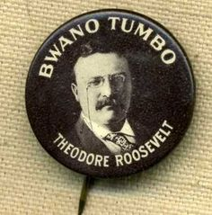 Theodore Roosevelt Bwano Tumbo Celluloid Button Presidential Speeches, All Presidents, Political Campaign, Theodore Roosevelt, Political Science, Old Paper, Vintage Buttons, Historian, Badges