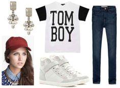 Jeans, graphic tee, crystal earrings, white sneakers, maroon baseball cap