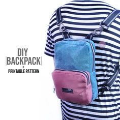 Backpack DIY + Printable Pattern and 🛍️ Purses and Bags Backpack Tutorial, Diy Backpack, Backpack Pattern, Fanny Pack Pattern, Bag Patterns To Sew, Sewing Patterns, Diy Clothing, Sewing Techniques, Handmade Bags