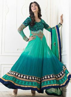 Sea Green ombre Anarkali Suit