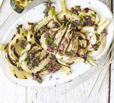 Slice fennel and chargrill it as the base to a salad dressed with Kalamata olives, parsley, basil and garlic