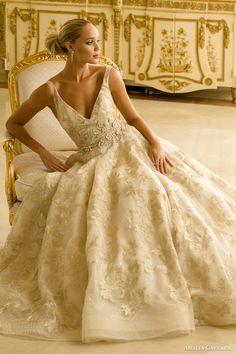 Amalia Carrara spring 2016 bridal sleeveless v neck ball gown wedding dress (345) zv #bridal #wedding #vneck #ballgown #romantic #engaged #weddingdress #weddinggown