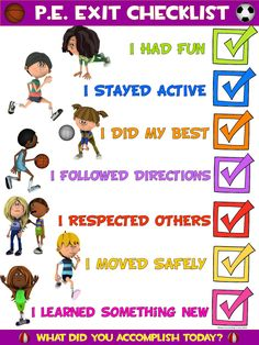 PE Poster: Physical Education Exit Checklist                              …